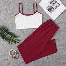 Sets Homewear Ribete en contraste Monocolor Casual