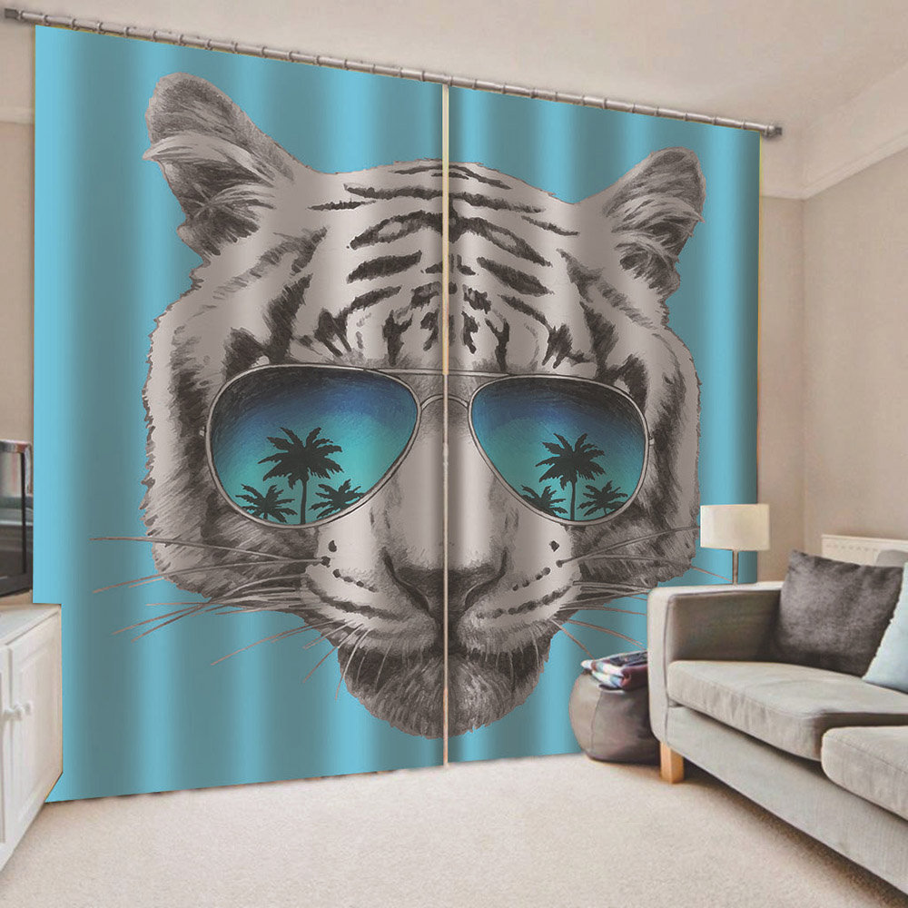3D White Tiger Wearing Glasses Printed Decorative Blackout Curtain Drapes No Pilling No Fading No off-lining