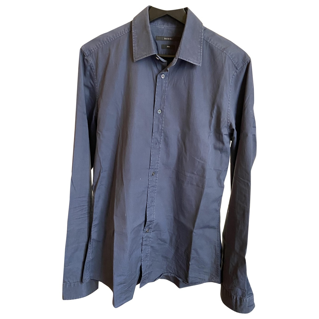 Gucci \N Blue Cotton Shirts for Men 39 EU (tour de cou / collar)