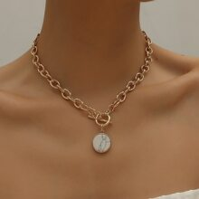 Marble Pattern Round Charm Necklace