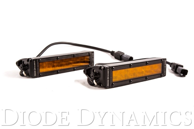 Diode Dynamics DD5044P 6 Inch LED Light Bar Single Row Straight SS6 Amber Wide Light Bar Pair