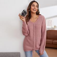 Drop Shoulder Lace Up Front Sweater