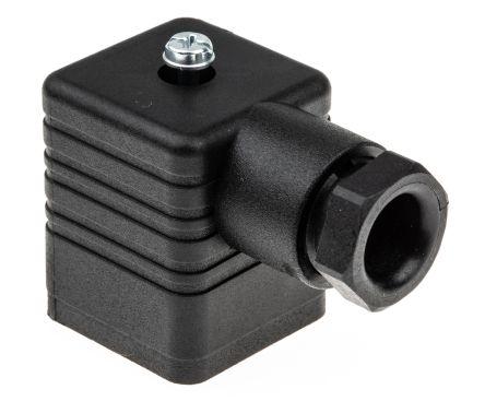 Hirschmann 3P+E DIN 43650 A Solenoid Valve Connector, Female, Screw Down, GDM Series, 16A, 250 V ac/dc, IP65, Black