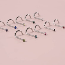 10 piezas anillo de nariz con diamante de imitacion