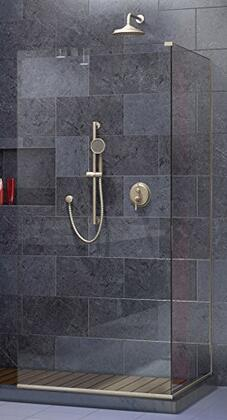 SHDR-3234303-04 Linea Two Adjacent Frameless Shower Screens 30 In. And 34 In. W X 72 In. H  Open Entry Design In Brushed