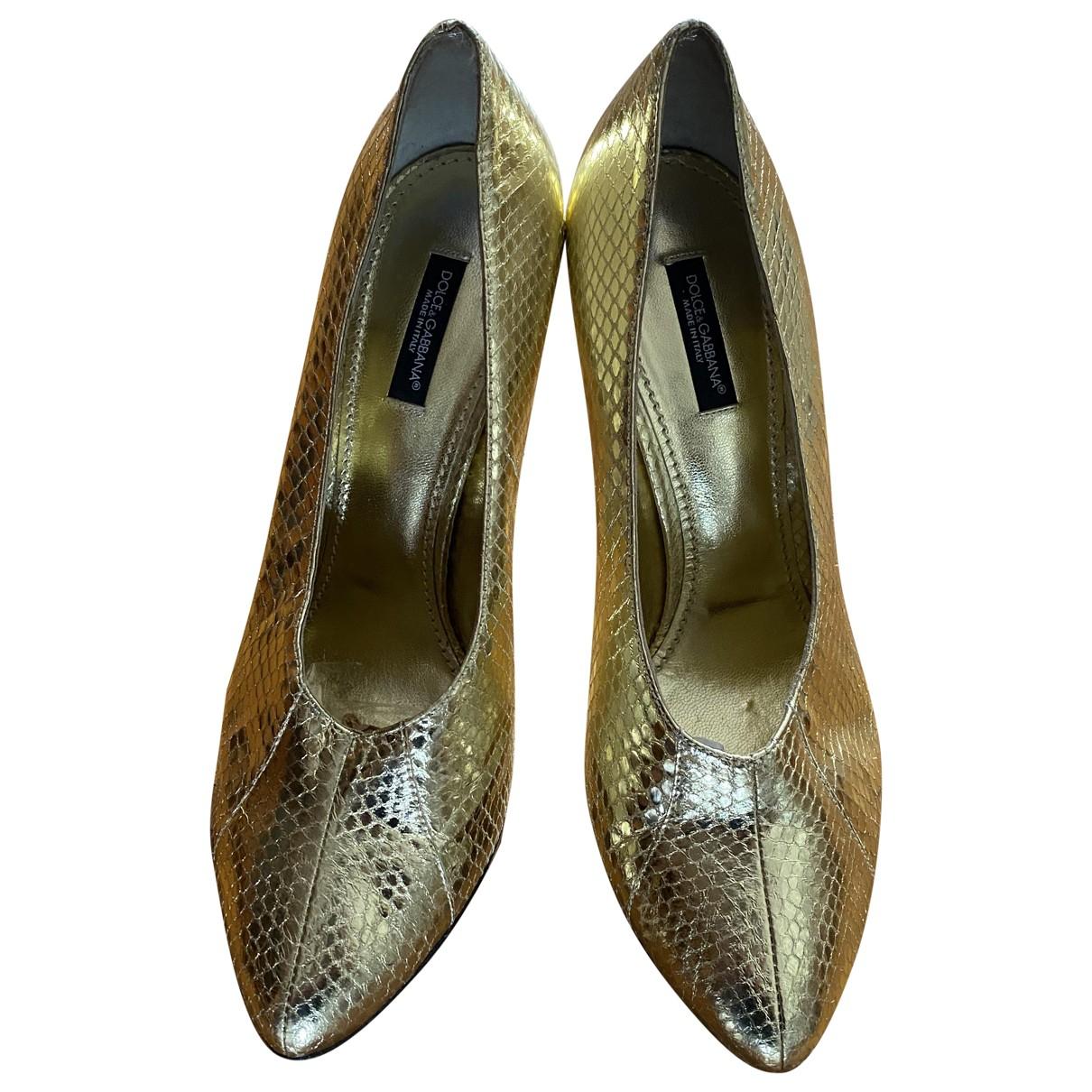 Dolce & Gabbana - Escarpins Taormina pour femme en cuir - dore