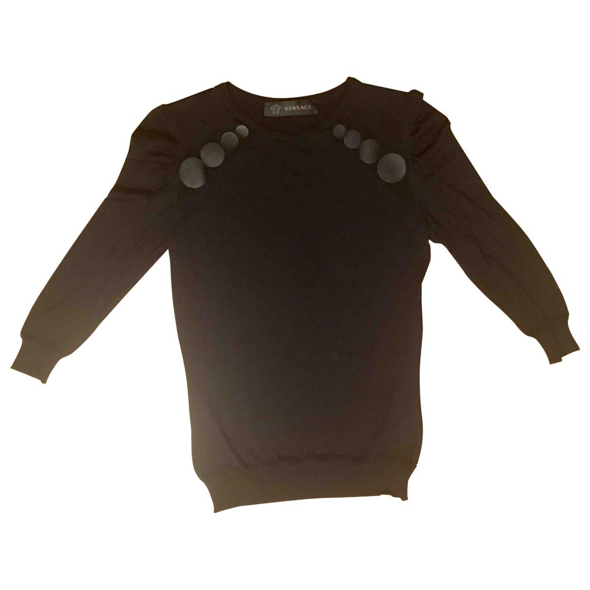 Versace - Pull   pour femme en soie - noir