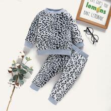 Sweatshirt & Jogginghose mit Leopard Muster