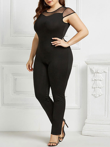 Milanoo Plus Size Clothes For Women Black Polyester Short Sleeves Casual Polyester Fall Jumpsuit
