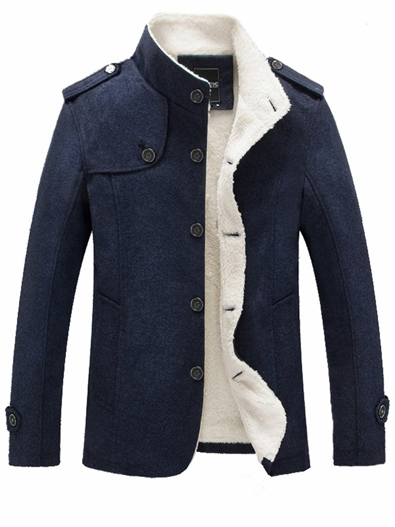 Ericdress Solid Color Slim Stand Collar Mens Small Size Wool Coat