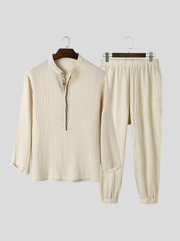 Pure Color Cotton Comfy Stand Collar Long Sleeve Home Jogger Pants Loungewear Sets