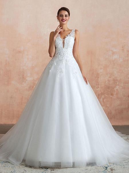 Milanoo Wedding Dress 2020 V Neck Princess Sleeveless Floor Length Tulle Bridal Gown With Train