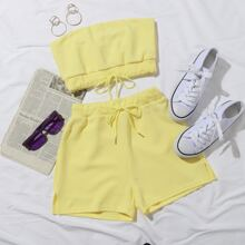 Tie Front Tube Top & Shorts Set