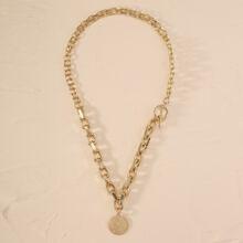 Halskette mit Muenze Dekor