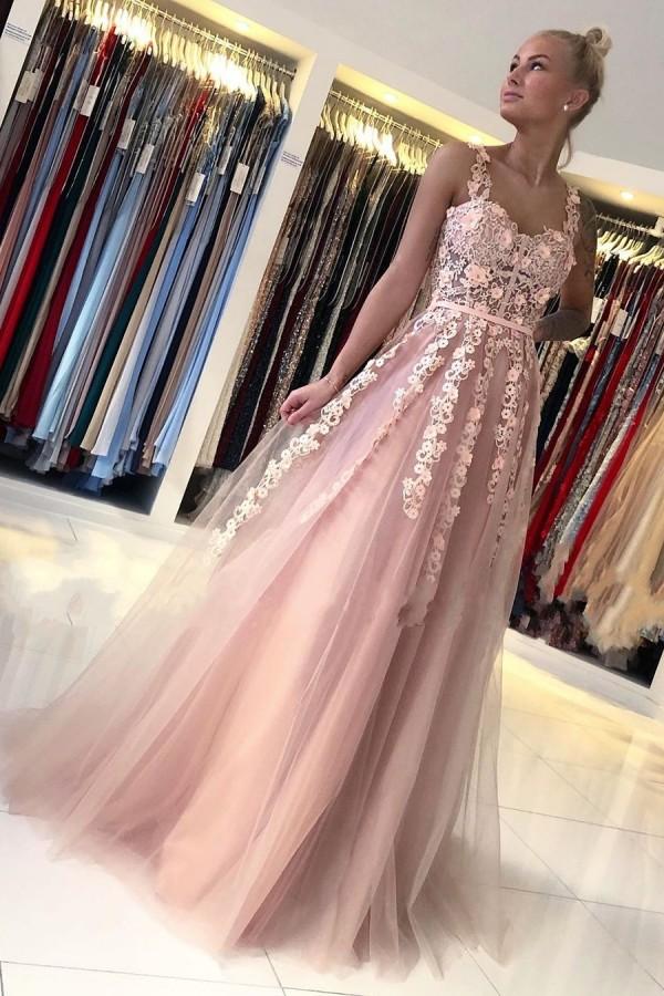Romantisches aermelloses A-Linien-Abendkleid mit staubigen rosa aermellosen Spitzenbaendern