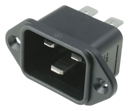 Bulgin C20 Panel Mount IEC Connector Male, 16A, 250 V ac