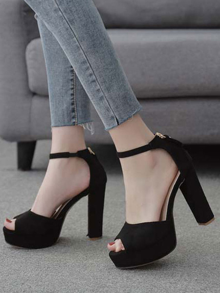Milanoo Platform High Heel Sandals Womens Peep Toe Ankle Strap Chunky Heel Sandals
