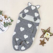 Baby Girl Heart 3D Ear Design Feet Cover Ribbed Jumpsuit
