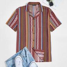 Men Tribal Print Revere Collar Shirt