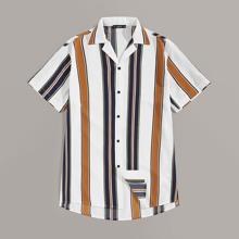 Men Notch Collar Colorblock Striped Shirt