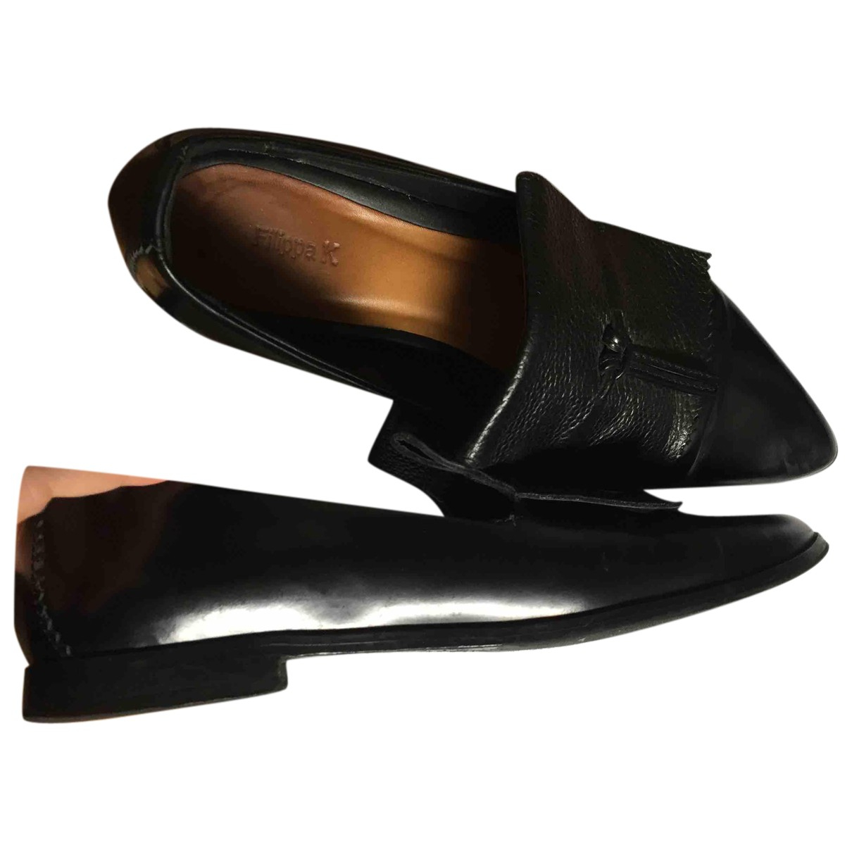 Filippa K N Black Leather Flats for Women 40 EU