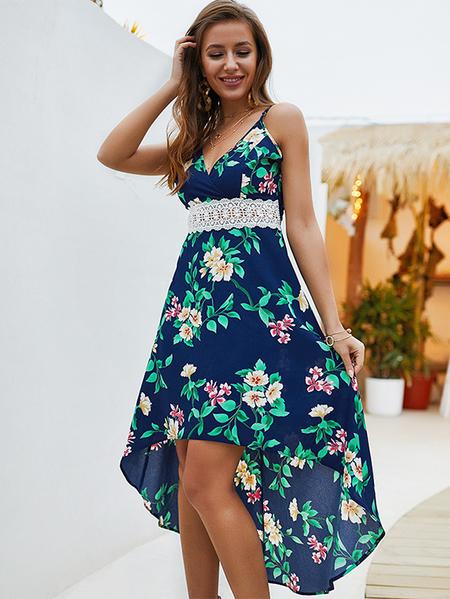 Yoins Floral V-neck High Low Hem Dress