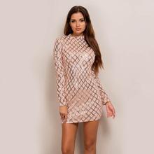 Figurbetontes Kleid mit Stehkragen und Kontrast Paillette