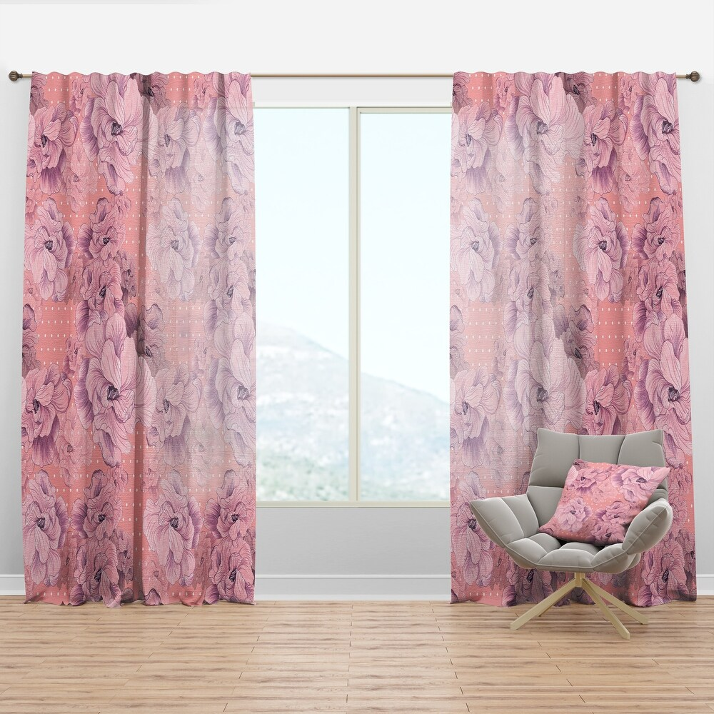 Designart 'Pink Flowers Composition' Bohemian & Eclectic Curtain Panel (50 in. wide x 90 in. high - 1 Panel)
