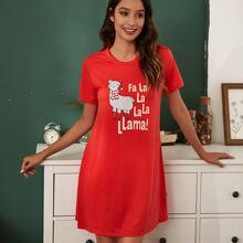 Weihnachten Nachtkleid mit Lama & Buchstaben Grafik