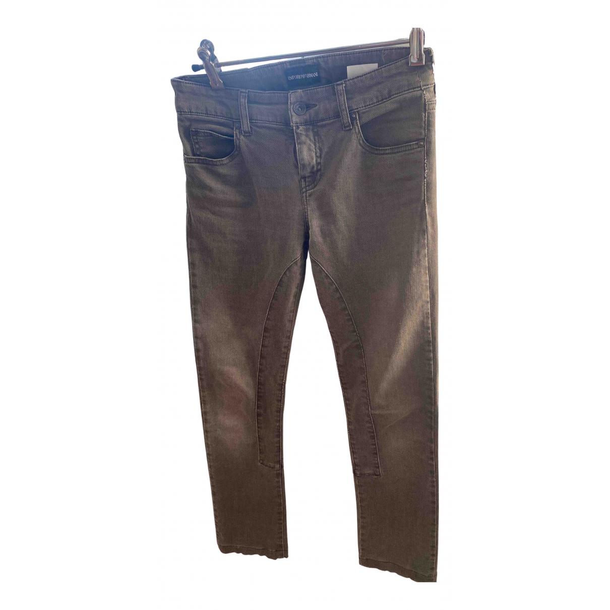 Emporio Armani \N Khaki Cotton Trousers for Women 36 FR