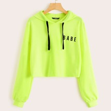 Neon Lime Letter Graphic Drawstring Hoodie