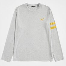 Camiseta con estampado de animal dorado y rayas