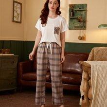 Schlafanzug Set mit Plaid Muster und Taschen Flicken
