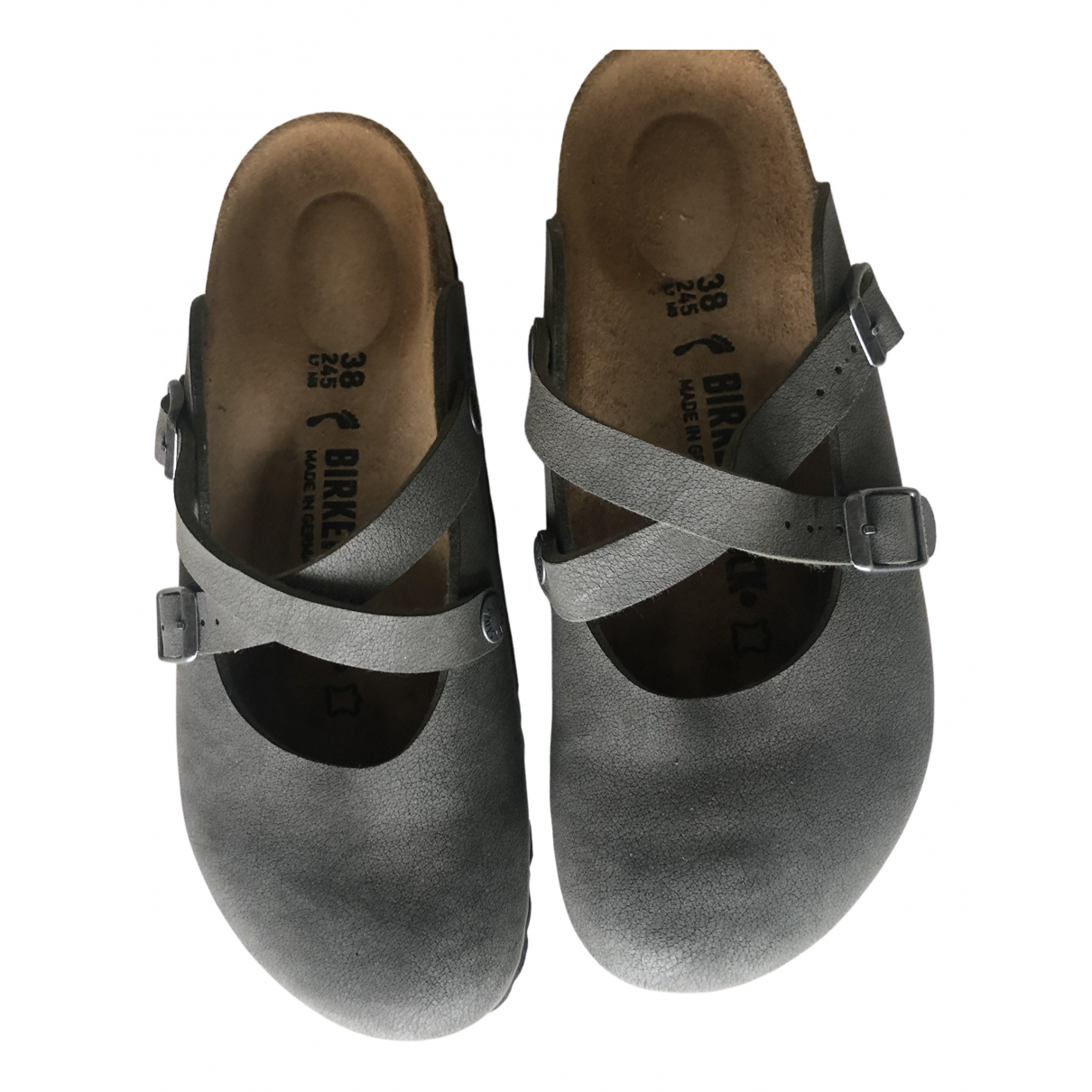 Birkenstock - Sabots   pour femme en cuir - gris