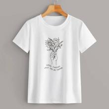 Camiseta con estampado floral con slogan - grande