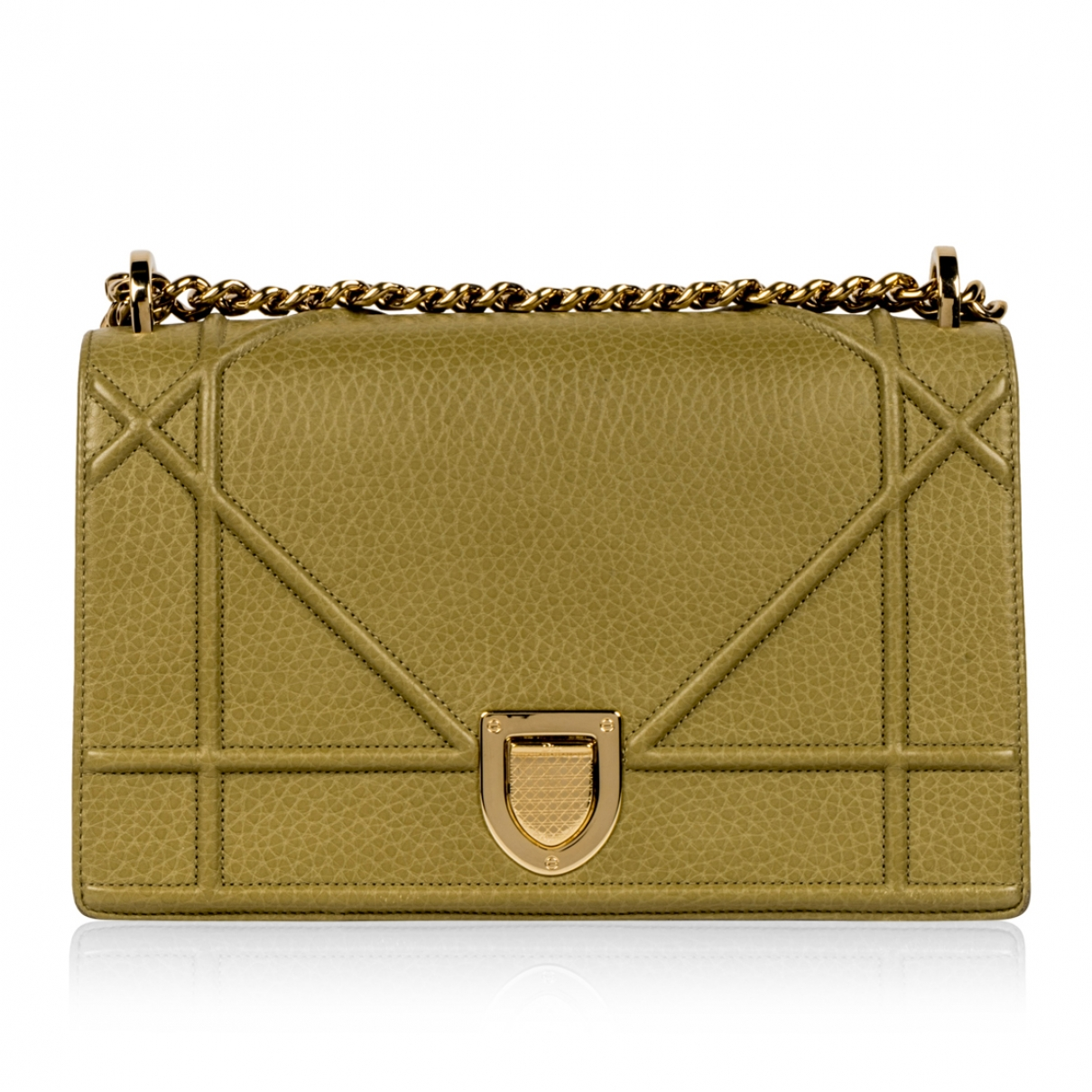 Dior Diorama Khaki Leather handbag for Women \N