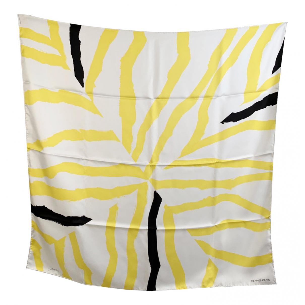 Hermes - Foulard   pour femme en soie - jaune