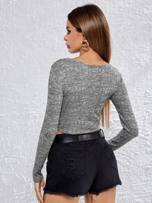 Single Breasted Marled Knit Crop Tee