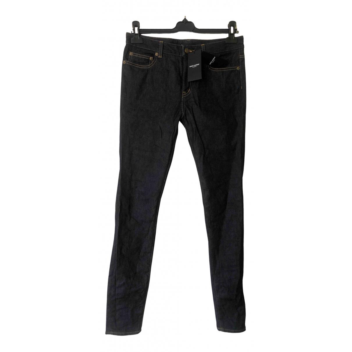 Saint Laurent \N Navy Cotton - elasthane Jeans for Women 30 US