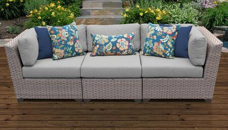 Florence Collection FLORENCE-03c-GREY 3-Piece Patio Sofa with 2 Corner Chairs and 1 Armless Chair - 2 Sets of Grey