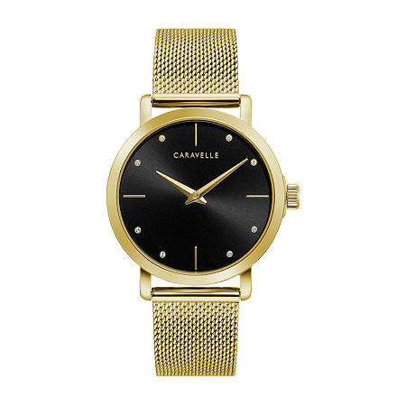 Caravelle Designed By Bulova Womens Gold Tone Stainless Steel Bracelet Watch - 44l256, One Size , No Color Family