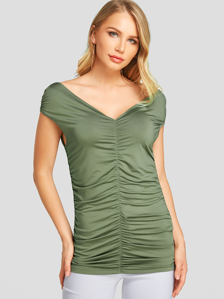 YOINS Army Green Ruched Design Deep V-neck Short Sleeves Tee