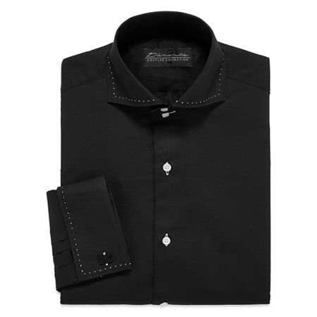 D'Amante Modern French Cuff Long Sleeve Dress Shirt, 16.5 34, Black