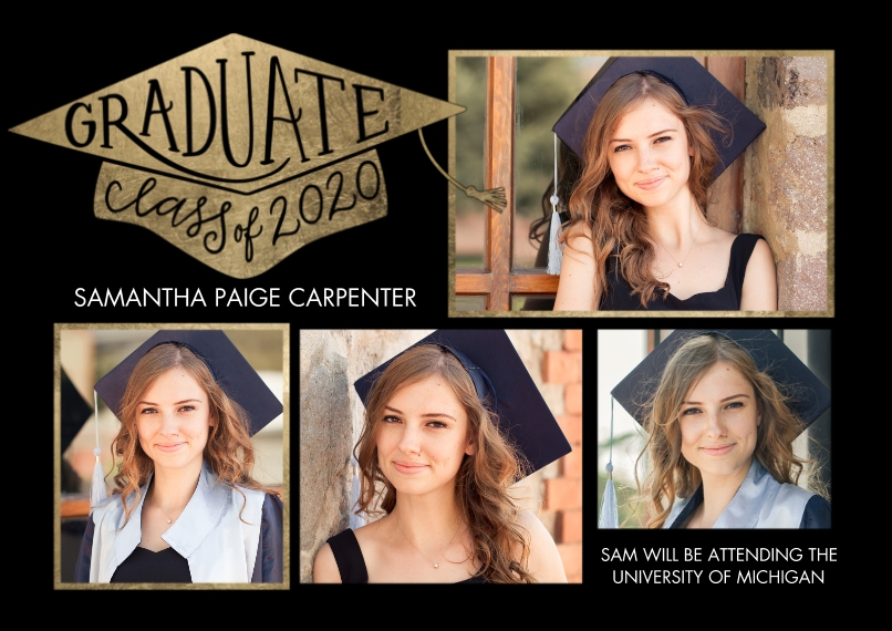 2020 Graduation Announcements 5x7 Cards, Premium Cardstock 120lb, Card & Stationery -Graduate Cap Class of 2020 by Tumbalina
