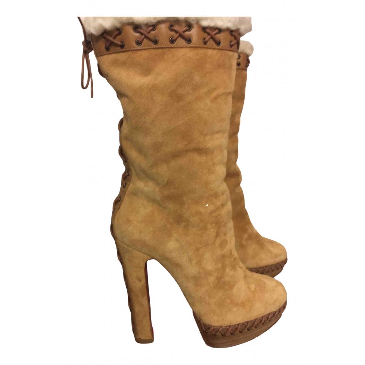 Christian Louboutin - Bottes   pour femme en cuir - beige
