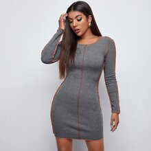 Strick Kleid mit Kontrast Stich