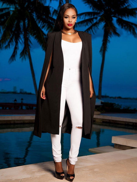 Milanoo Chaqueta de capa irregular de manga larga con poncho blanco para mujer