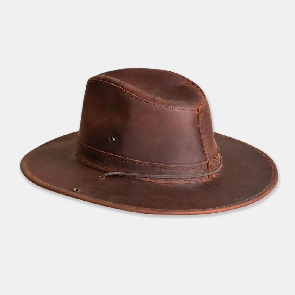 Men Wool Felt And Leather Curve Brim Adjustable Rope Cowboy Hat Safari Hat