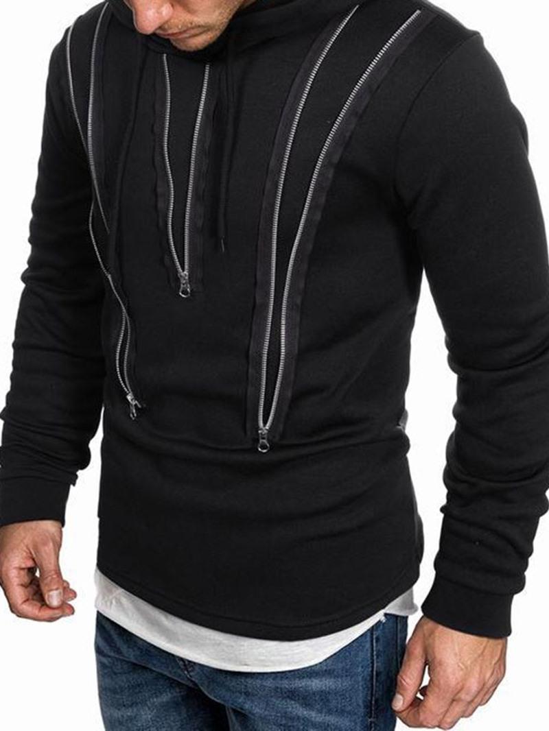 Ericdress Pullover Zipper Color Block Sports Hooded Hoodies