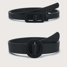 2pcs Solid Buckle Belt